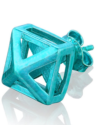Small 3D Pyramid Earrings in Turquoise, kolczyki