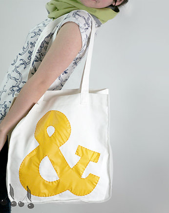 ::: SHOPPING BAG ampersand  yellow :::, torby na zakupy - damskie
