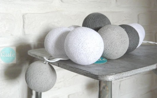 lampy-Qule Lampki Cotton Ball Gray & White 10 kul
