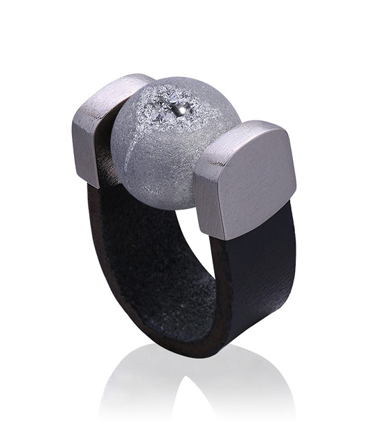 Agate Druzy Grey Ring in Palladium - 1715882